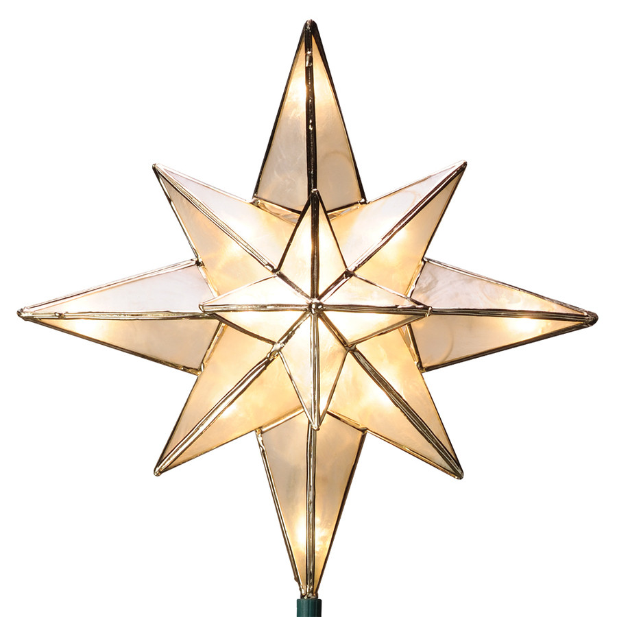 10-in White Lighted Capiz Star Christmas Tree Topper with White Incandescent Lights