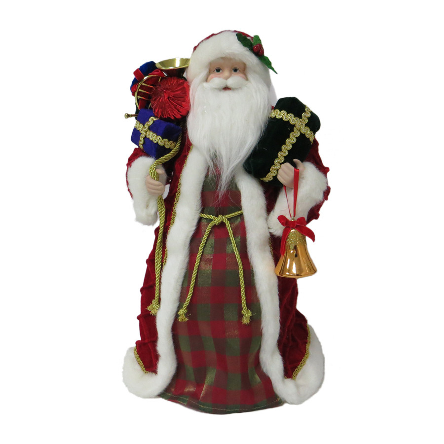 18-in Red, Green, White Fabric Santa Christmas Tree Topper