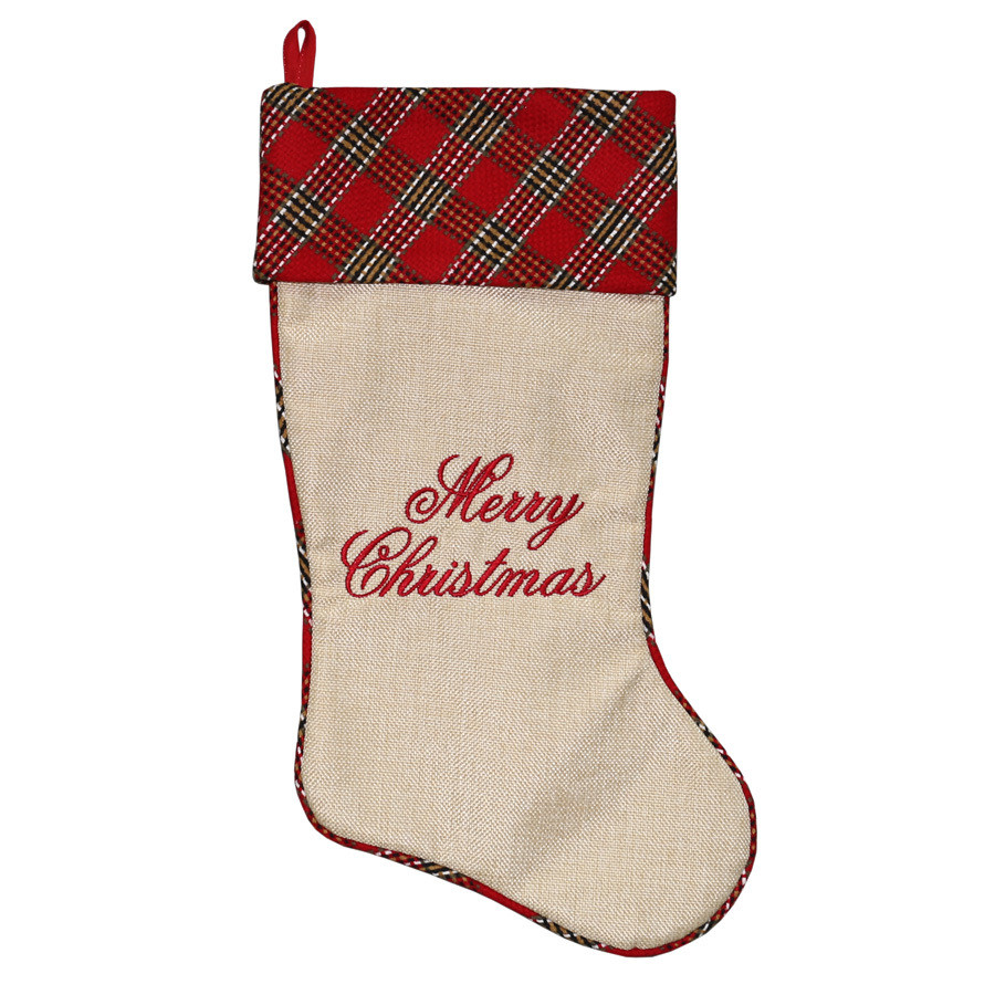 19-in Red Traditional Christmas Stocking