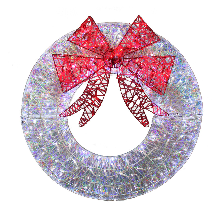 36-in Pre-Lit Indoor/Outdoor Deco Mesh Artificial Christmas Wreath with Multicolor LED Lights