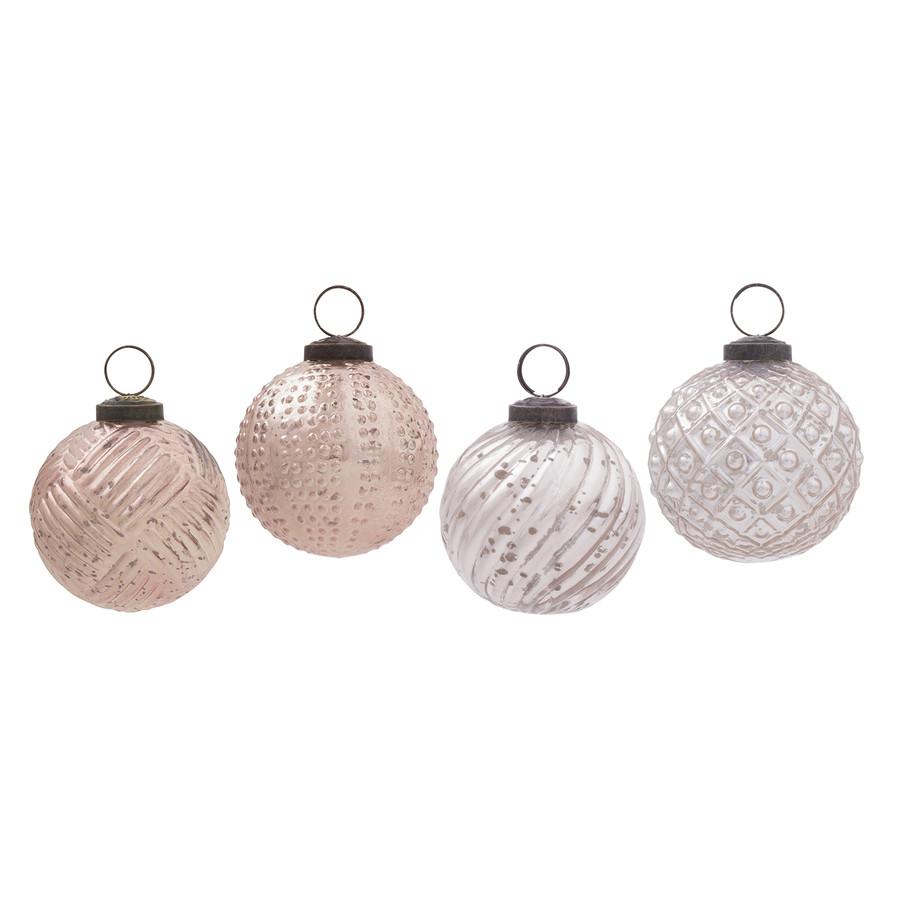 4-Pack Pink Mercury Ornament Set