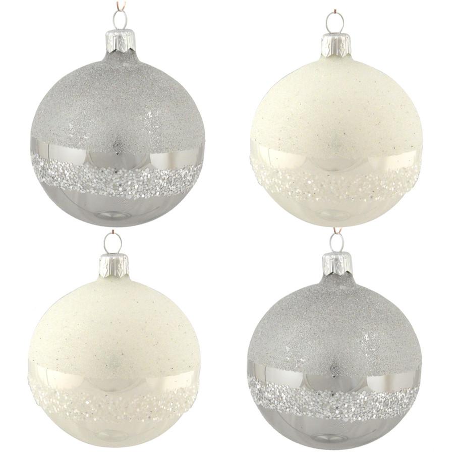 4-Pack White/Grey Ball Ornament Set