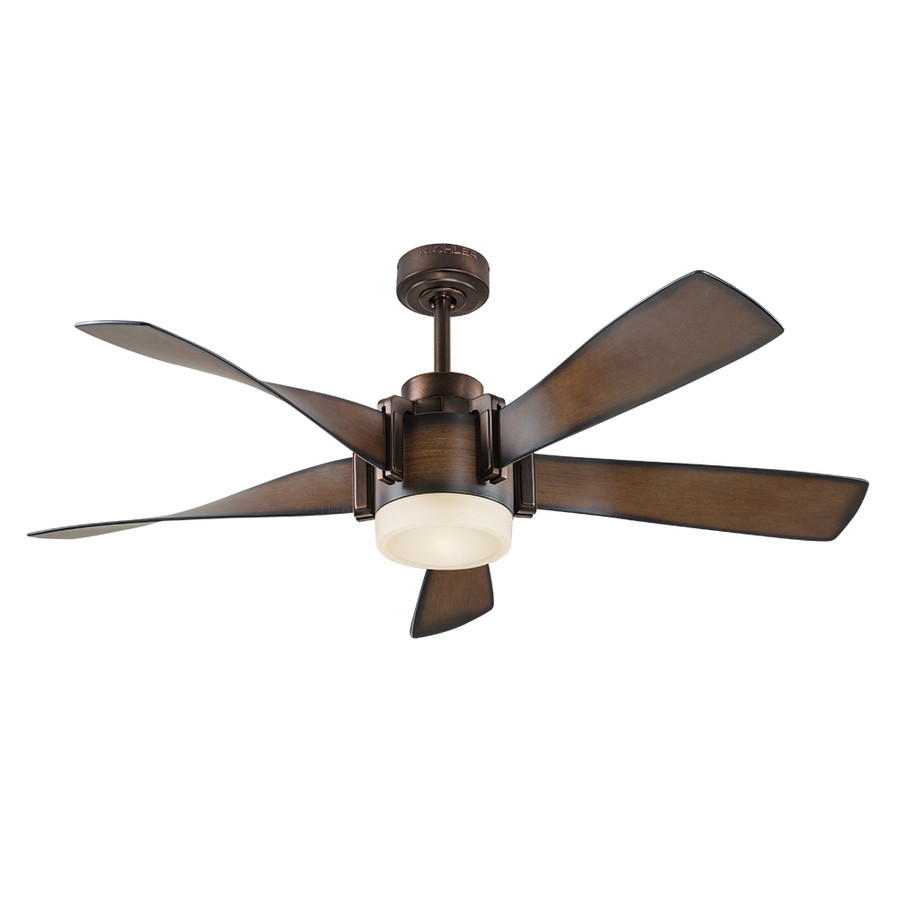 52-in Mediterranean Walnut with Bronze Accents Downrod Mount Indoor Ceiling Fan with LED Light Kit and Remote