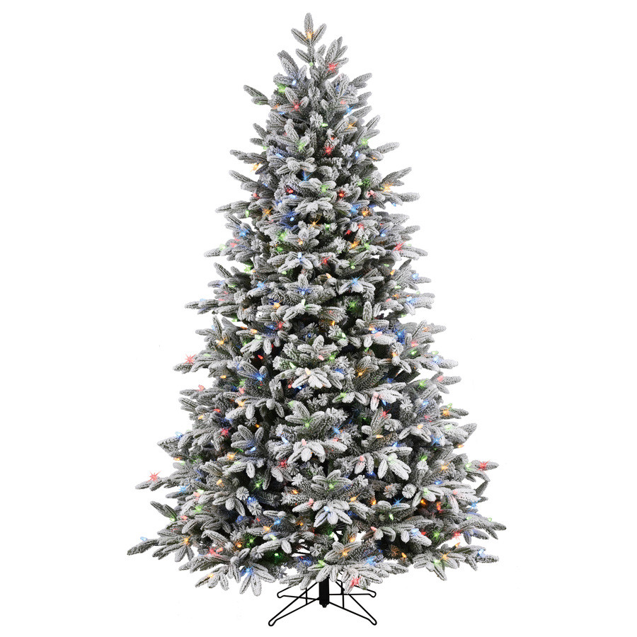 7.5-ft Pre-Lit Alaskan Pine Full Flocked Artificial Christmas Tree with Color Changing Warm White LED Lights