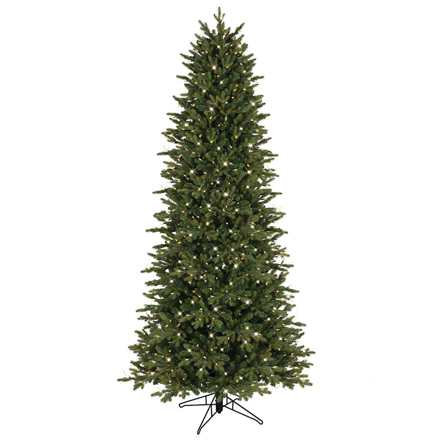 7.5-ft Pre-Lit Aspen Fir Slim Artificial Christmas Tree with White Clear Incandescent Lights