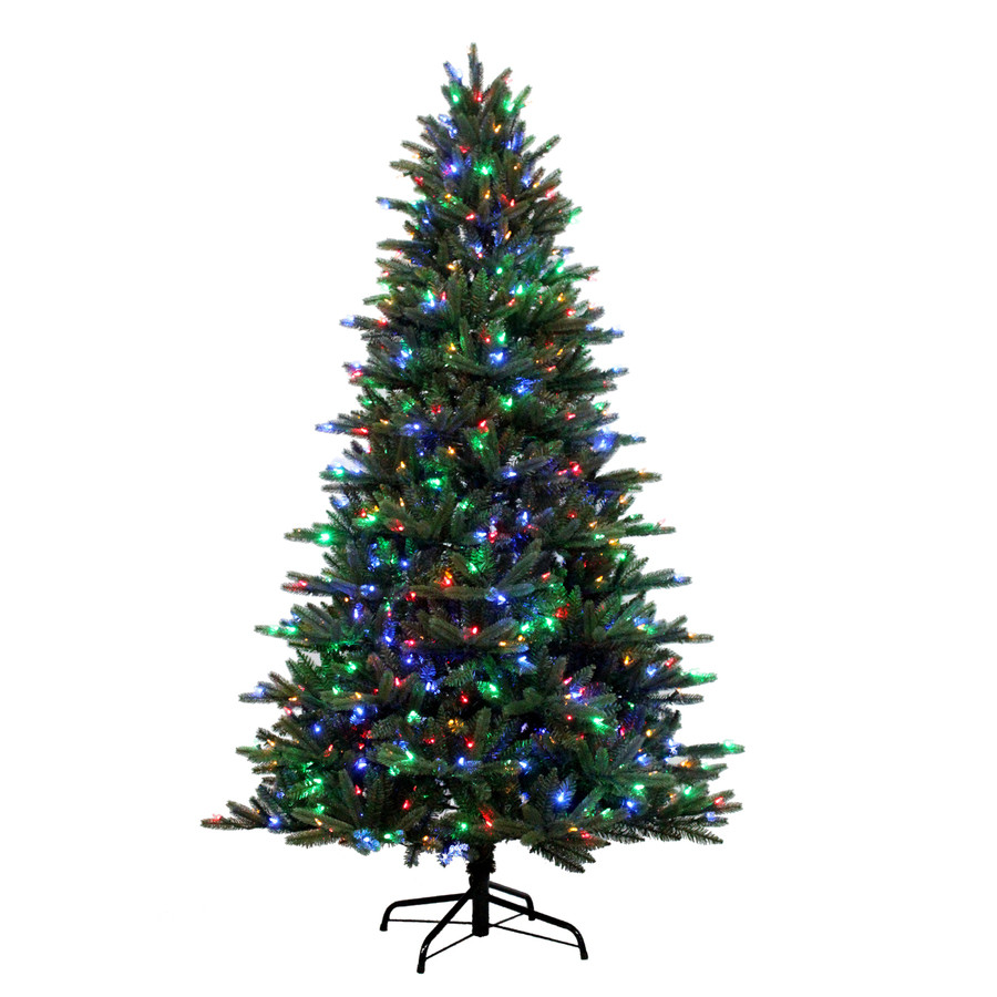 7.5-ft Pre-Lit Englewood Pine Artificial Christmas Tree with Color Changing LED Lights