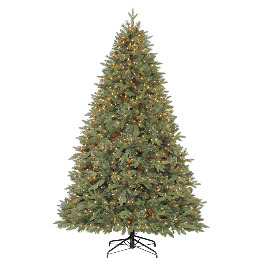 7.5-ft Pre-Lit Hayden Pine Artificial Christmas Tree with White Clear Incandescent Lights