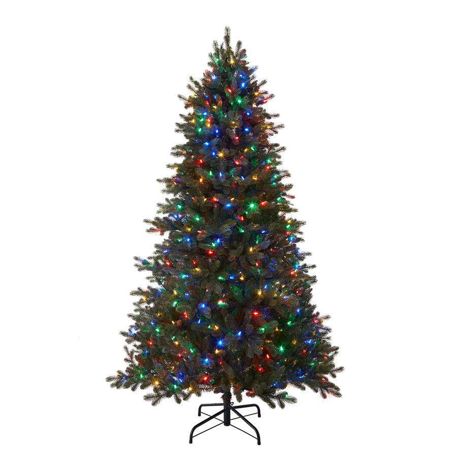 7.5-ft Pre-Lit Mansfield Full Rightside-Up Artificial Christmas Tree Color Changing (Color Lights) Led Lights