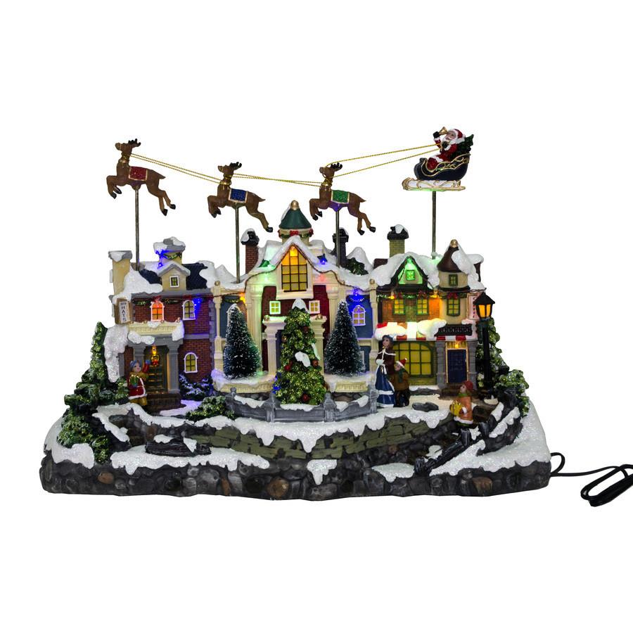 Animatronic Lighted Santa Fly Village Scene