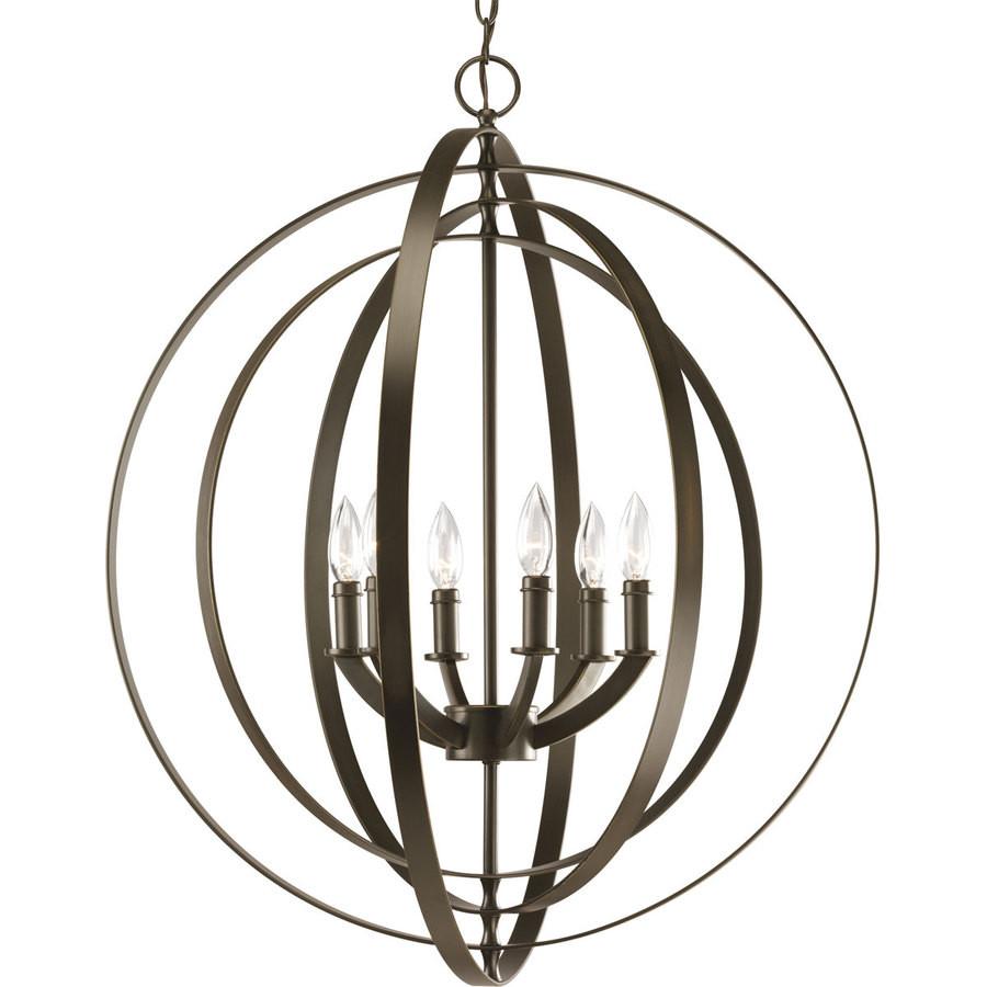 Equinox 27.75-in 6-Light Antique Bronze Globe Chandelier