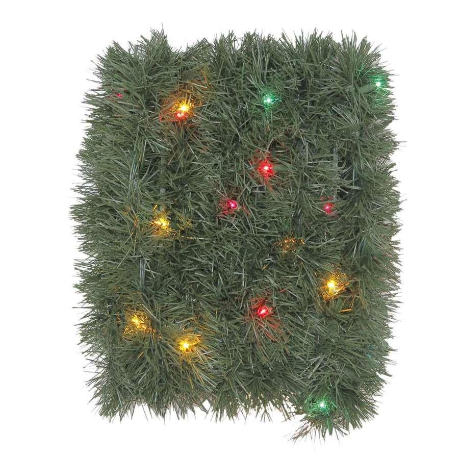 Indoor/Outdoor Pre-Lit 18-ft L Soft Pine Garland with Multicolor Incandescent Lights