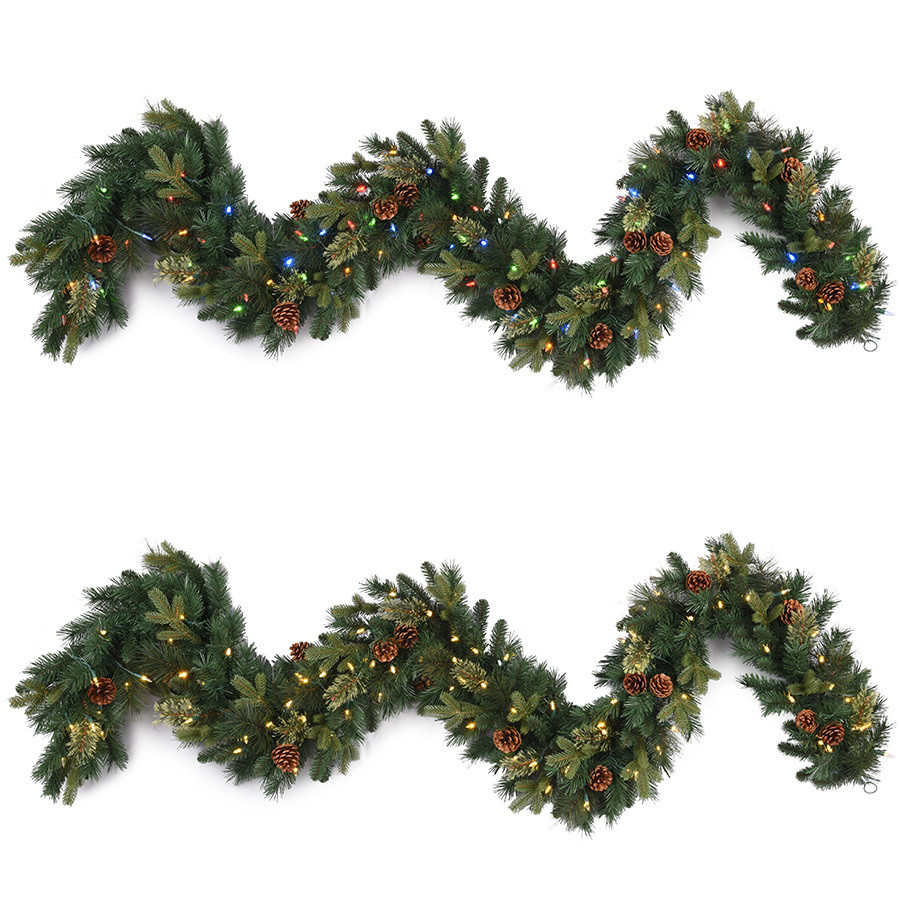Indoor/Outdoor Pre-Lit 9-ft L Branch Garland with Color Changing LED Lights