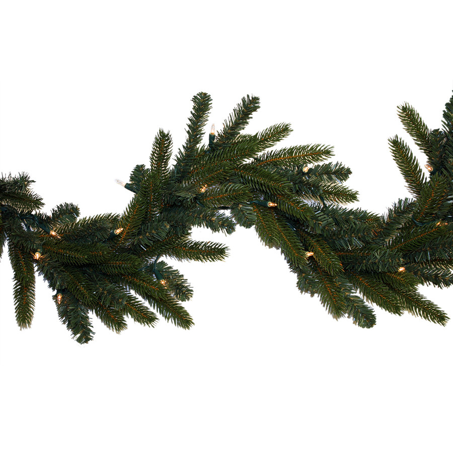 Indoor/Outdoor Pre-Lit 9-ft L Spruce Garland with White Incandescent Lights