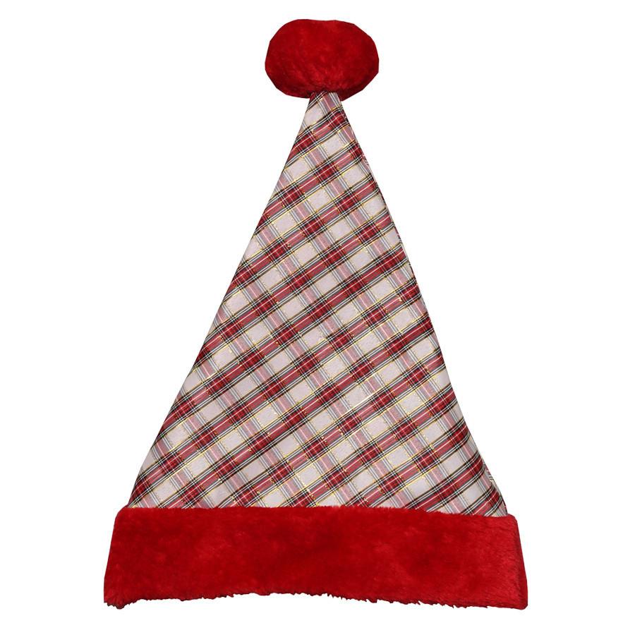 One Size Fits All Metallic Velvet Traditional Santa Hat