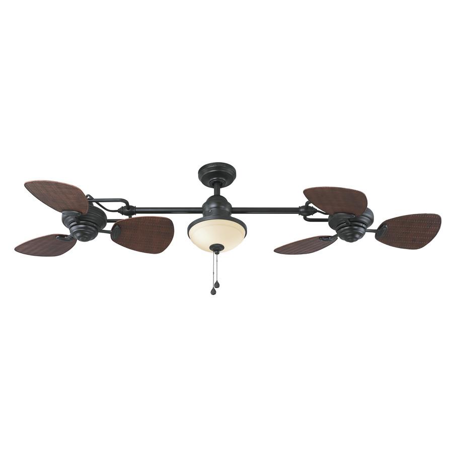 Twin Breeze Ii 74-in Oil Rubbed Bronze Downrod Mount Indoor/Outdoor Ceiling Fan with Light Kit (6-Blade)
