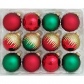 12-Pack Multiple Color and Shiny and Matte Ornament Set