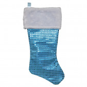 19-in Blue Glitter Christmas Stocking