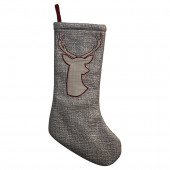 19-in Gray Animals Christmas Stocking