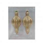2-Pack Gold Finial Ornament Set