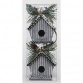 2-Pack Mixed Color Birdhouse Ornament Set