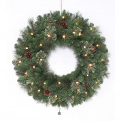 30-in Pre-Lit Indoor/Outdoor Leland Artificial Christmas Wreath with White Warm White Led Lights