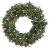 30-in Pre-Lit Indoor/Outdoor Mixed Pine Artificial Christmas Wreath with Multicolor Warm White LED Lights
