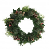 30-in Pre-Lit Indoor/Outdoor Mixed Pine Artificial Christmas Wreath with Warm White Incandescent Lights