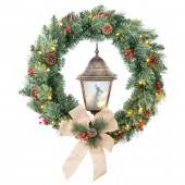 30-in Pre-Lit Indoor/Outdoor Pine Artificial Christmas Wreath with Warm White LED Lights