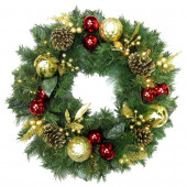 30-in Pre-Lit Indoor/Outdoor Pine Artificial Christmas Wreath with White Warm LED Lights