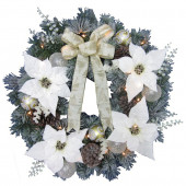 30-in Pre-Lit Indoor/Outdoor Poinsettia Artificial Christmas Wreath with White Warm LED Lights