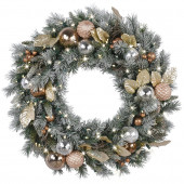 30-in Pre-Lit Mixed Pine Artificial Christmas Wreath with White Warm White LED Lights