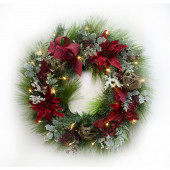 30-in Pre-Lit Pine Artificial Christmas Wreath with Warm White LED Lights