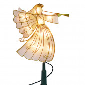 4-Pack 12.75-in Light Gold Pre-Lit Metal Angel Christmas Tree Toppers with White LED Lights
