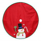 40-in Red Polyester Traditional Christmas Tree Skirt