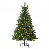4.5-ft Pre-Lit Bristen Pine Artificial Christmas Tree White with Clear Incandescent Lights