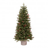 4.5-ft Pre-Lit Frasier Fir Slim Flocked Artificial Christmas Tree with White Clear Incandescent Lights