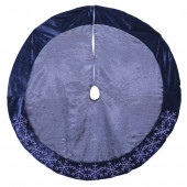 48-in Blue Polyester Snowflake Christmas Tree Skirt
