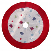 48-in Cotton Snowflake Christmas Tree Skirt