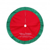 48-in Red Polyester Merry Christmas Tree Skirt
