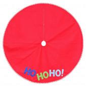 48-in Red Polyester Santa Christmas Tree Skirt
