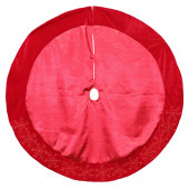 48-in Red Polyester Snowflake Christmas Tree Skirt
