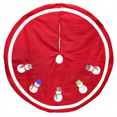 48-in Red Polyester Traditional Christmas Tree Skirt