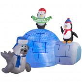 5.24-ft x 4.75-ft Animatronic Lighted Igloo Christmas Inflatable