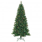 7-ft Pre-Lit Full Artificial Christmas Tree with Multicolor Incandescent Lights