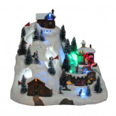 Animatronic Lighted Musical Santa Fly Village Scene