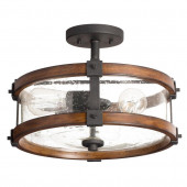 Barrington 14.02-in W Distressed Black and Wood Clear Glass Semi-Flush Mount Light