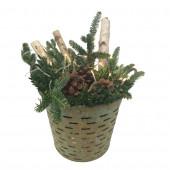 Fresh Christmas Decorative Greenery Basket