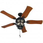 Lake Placido 52-in Black Iron Downrod or Close Mount Indoor/Outdoor Ceiling Fan with Light Kit